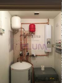 Electric boiler with unvented hot water cylinder