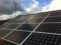 4 kWp Solar install, using 16 x Sharp NU 250W Mono solar electricity panels in Mansfield Woodhouse, Nottinghamshire, UK