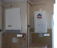 Before and after picture of new gas condensing boiler installation in Mansfield