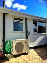A domestic air source heat pump installation
