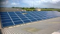 Part of a commercial solar installation at an agricultural site
