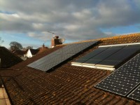 A Sanyo 3.84kw system with solar thermal in middle