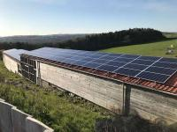 Solar PV array on outbuildings at Boringdon Park Golf Club