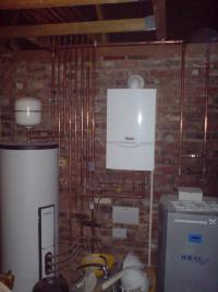 Pipework installation in a garage