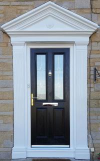 Black guard door.