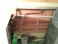 Renewed pipe work from under floor and fitted plywood base