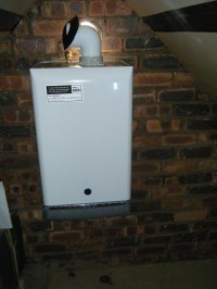 Boiler fitted in an attic