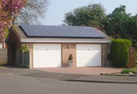 Solar PV installation to double garage in Chesterfield, Derbyshire