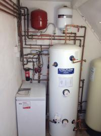 unvented cylinder and floor standing boiler
