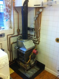 Old boiler being removed