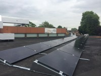 A flat roof system on a School near Heathrow Airport.