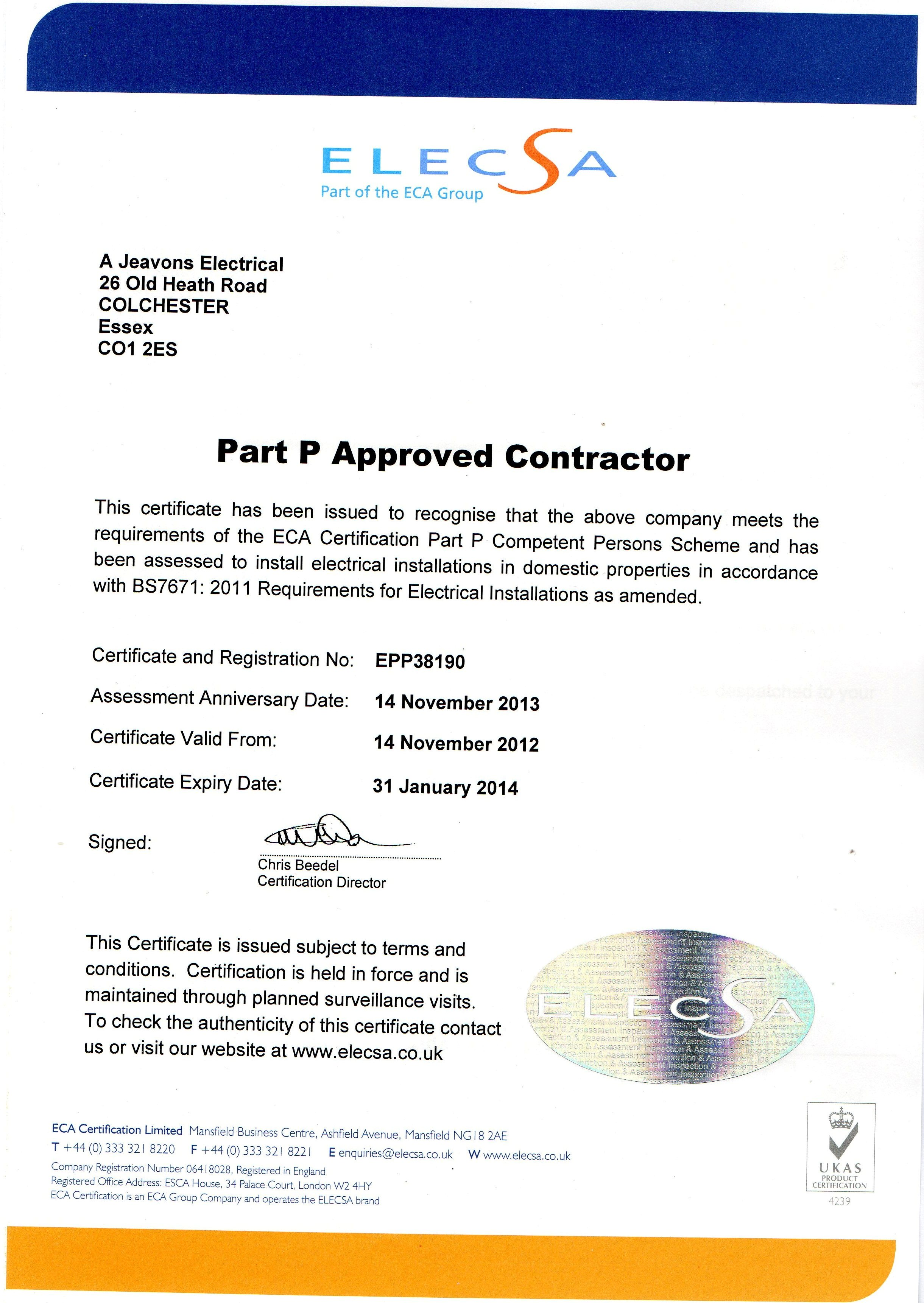 Part P Certificate >> A Jeavons Electrical Of Colchester Installation And Service